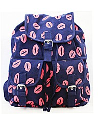Lili B Lip Print Backpack