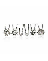 Mood Set Of Six Crystal Hair Pins