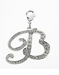 Rhodium Plated CZ Set Initial B Charm