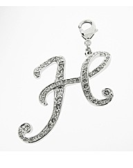 Rhodium Plated CZ Set Initial H Charm