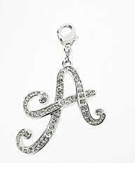 Rhodium Plated CZ Set Initial A Charm