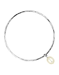 Simply Silver Bangle with Pearl Charm
