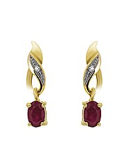 9ct  Ruby & Diamond Earrings