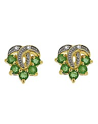 9ct Emerald & Diamond Earrings