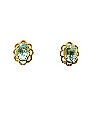 9ct Yellow Gold Blue Topaz Earrings