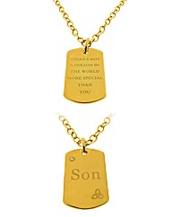 Gold Plated Son Tag Pendant