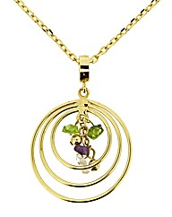 Gold Plated Beaded Disc Pendant