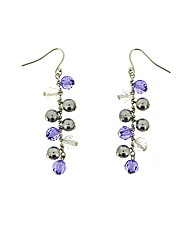 Purple Beaded Drop Earrings