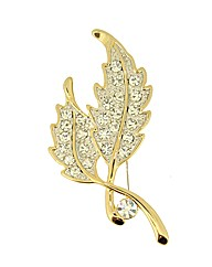 Crystal Set Leaf Brooch