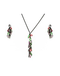 Black Multi Coloured Beaded Necklace Set