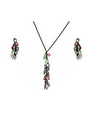 Black Multi Coloured Beaded Necklace Set