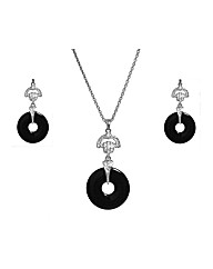 Crystal Set Black Loop Pendant Set