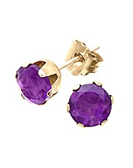 Yellow Gold 1 Carat Amethyst Earrings