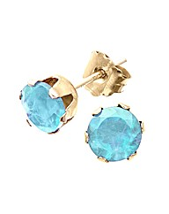 Yellow Gold 1 Carat Blue Topaz Earrings