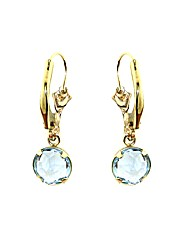 9ct Gold 0.01Ct Blue Topaz Earrings