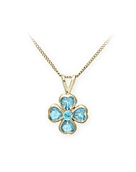 Yellow Gold 0.4 Carat Blue Topaz Pendant