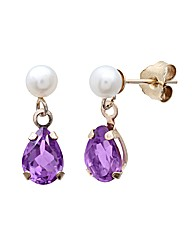 Yellow Gold 1.5 Carat Amethyst Earrings