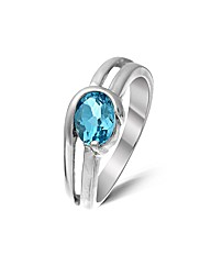 Sterling Silver 1.1 Ct Blue Topaz Ring