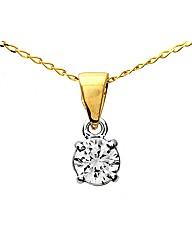 9ct Gold 0.5Ct Diamond Pendant