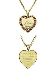 Gold Plated Sister Heart Pendant