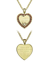 Gold Plated Daughter Heart Pendant
