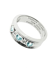 9ct Gold Blue Topaz Message Ring