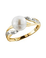 9ct YG Diamond and Pearl Ring