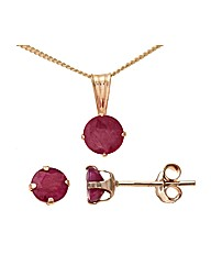 9ct Gold 1.35Ct Ruby Earrings + Pendant
