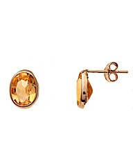 9ct Gold 1.7Ct Citrine Earrings
