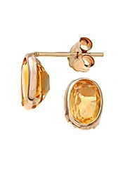 Yellow Gold 0.9 Carat Citrine Earrings