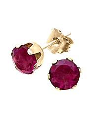 9ct Yellow Gold 1 Carat Garnet Earrings