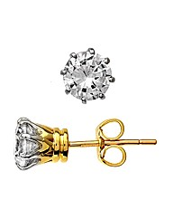 Yellow Gold 1.5 Carat Diamond Earrings