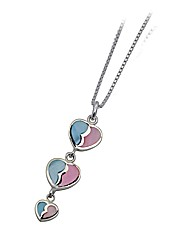 Silver Mop Triple Heart Drop Pendant