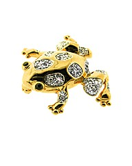 Gold Plated Crystal Frog Brooch