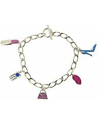Rhodium Handbag Charm Bracelet