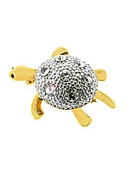 Gold Plated Crystal Set Turtle Brooch