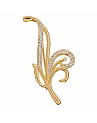 Gold Plated Crystal Brooch