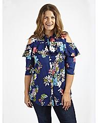 Koko Cold Shoulder Navy Floral Shirt
