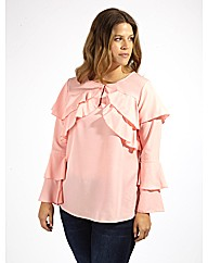 Koko Pink Blouse With Long Ruffle Sleeve