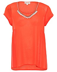 Threads Side Peplum Necklace Tee