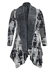 Samya Abstract Print Waterfall Cardigan