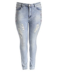 Koko Distressed Embroidered Jeans