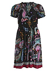 Samya Cap Sleeve Paisley Print Dress