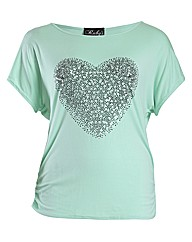 Rubys Closet Heart Print Top