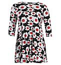 Rubys Closet Sunflower Print Swing Dress