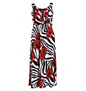 Rubys Closet Red Flower Print Maxi Dress