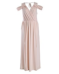 Rubys Closet Stretch Maxi Dress With Sho