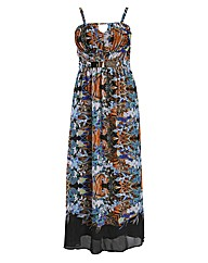 Rubys Closet Tropical Print Maxi Dress
