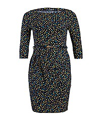 HotSquash Dotty Slash Neck Belted Dress