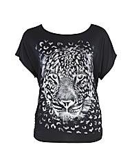 Rubys Closet Tiger Print Sequin Top